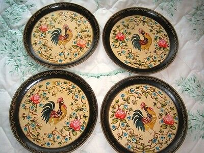 4 Vintage Paper Mache Tole Trays French Country Kitchen Roosters & Pink Roses