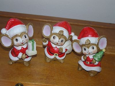 Vintage Lot of 3 Homco Cute Brown Christmas Holiday Santa Claus Mice with Gift