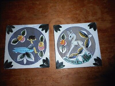 2 Retro Tilgmans Eivor Lang Hand painted Sgraffito Art Tiles Plaques Sweden