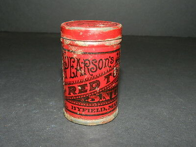Vintage Collectible Red Top Pearson Snuff tin, Byfield Mass