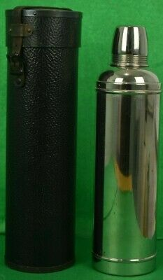 Fab c1908 Silverplate Thermos Bottle w/ Cork Stopper in Leather Cannister