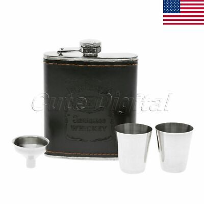 1 Set Black Engraved 7oz Hip Flask Gift Box Set Wedding Best Man Usher US STOCK