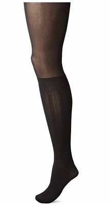 NON NONSENSE Layered Cable Knit BOOT SOCK Tights Black M/L