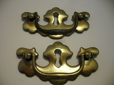 2 Vintage Brass Bail Style Dresser Drawer Pulls Chippendale w KEYHOLE Batwing