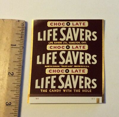 Vintage 1960's Original Unused  Life Savers CHOCOLATE Candy Wrapper