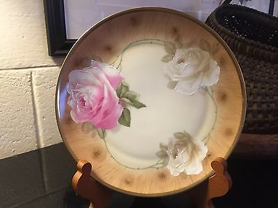 """Antique Z.S. & Co Bavaria Hand Painted Royal Munich 8 3/8"""" Plate with Roses"""