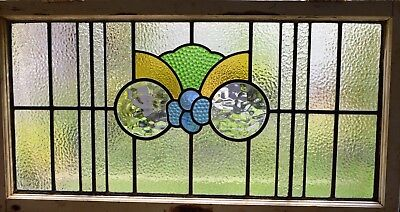 Antique Leaded English Stained Glass Huge Window Wood Frame England Old House 73