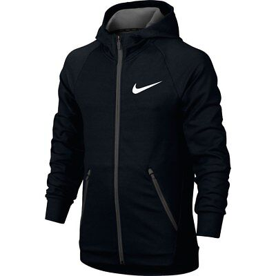 Nike Dry Big Kids Boys Training Full-Zip Hoodie M Black Gray School Gym New