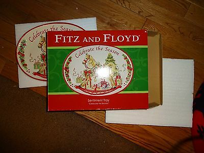 "Fitz And Floyd Sentiment Tray ""celebrate The Season"" New"