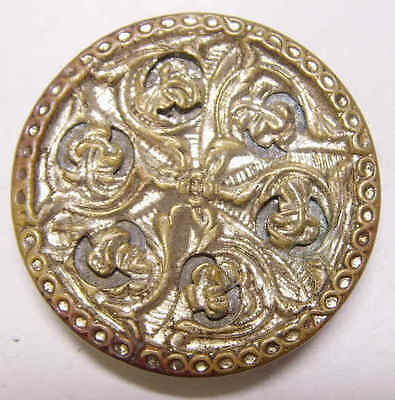 early 1800s antique metal french filigree large button arts crafts hobby 43521