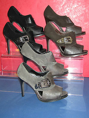 SALE Ladies Ankle High Shoes Peep Toe Buckle Western Style black grey brown