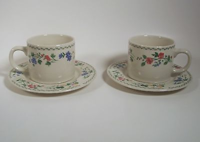 Farberware English Garden Pair Cup and Saucer Sets 4241 Cream Background