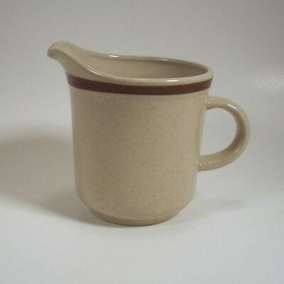 Yamaka Stoneware Cream Pitcher Japan Beige Tan Speckled with brown band