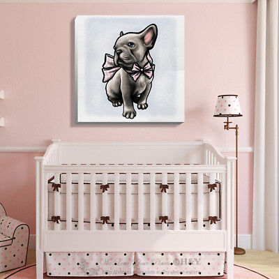 Cute Pet Dog Stretched Canvas Prints Framed Kids Wall Art Home Office Decor Gift
