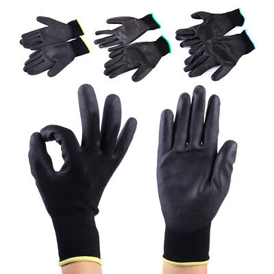 12Pairs PU Coating Nylon Safety Work Gloves Builders Grip Palm Protect Anti-Slip