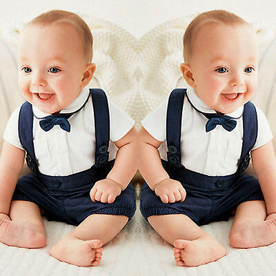 2PCS Toddler Baby Boy Summer Formal Party Suit Tie Shirt Tops +Bib Pants Clothes