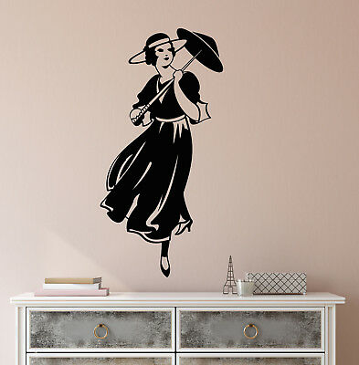Vinyl Wall Decal Retro Girl Lady With Umbrella Hat Vintage Doll Stickers 2241ig