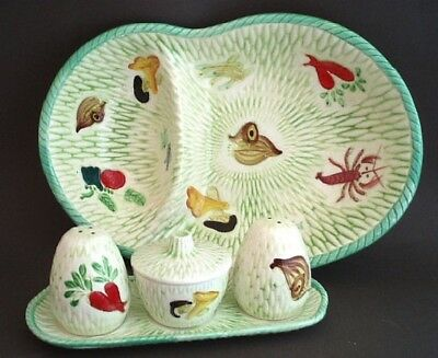 NAPCO 6 Pc 1960's Retro Ceramic Table Set - Serving Bowl, S&P, Covered Jar, Tray