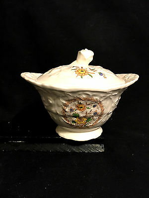 Steubenville STB338 Rose Point Sugar Dish with Lid,  Yellow Flowers on Cream