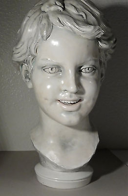 "Outstanding, 13"" Tall, Artist Signed,  Bust Of A Boy"