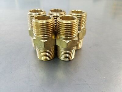 "(5) Brass Pipe Nipple 3/8"" Male NPT  X 1/4"" Male NPT Fitting  Fuel,Oil,Gas,Water"