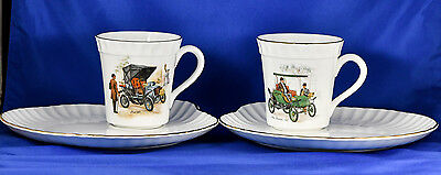 CROWN Staffordshire England Fine Bone China Cup+Plate PAIR Fiat & Pope-Waverley