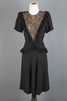 VTG 40s 50s Black Rayon Peplum Dress #1413 1940s 1950s Nude Illusion Lace Goth