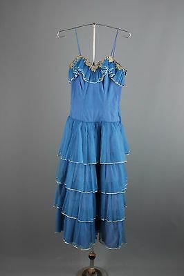 Vtg 50s 60s Blue Tulle Tiered Dress Size XXS #1388 1950s 1960s Prom Formal