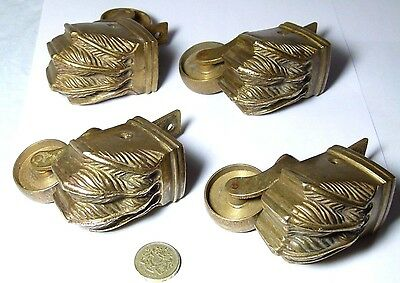 Set X4 Heavy Quality Vintage/antique Styled Lions Paw Furniture Feet Castors