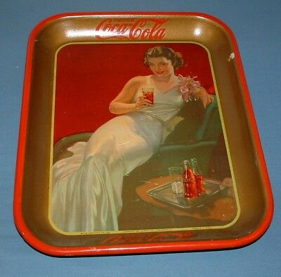 Vintage Coca Cola Girl On Couch Serving Tray - 1936 - Good Cond. - Coke