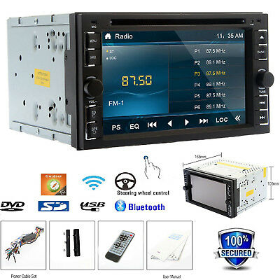 Double 2DIN In Dash Car Stereo CD DVD Player USB SD Bluetooth FM Radio Analog TV