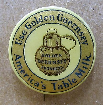 USE GOLDEN GUERNSEY MILK PRODUCTS Petersboro NH dairy celluloid pinback button *