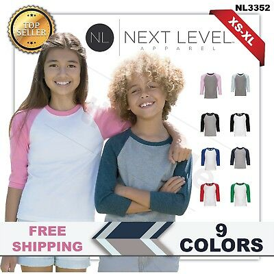 Next Level Youth CVC 3/4-Sleeve Baseball T-Shirt. 3352