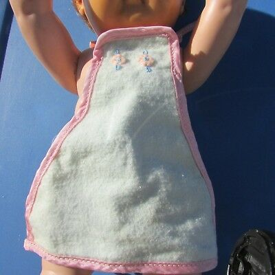 Plastic Apron Bib Dy-Dee, Tiny Tears Embroidered Flowers Cloth Front Vintage