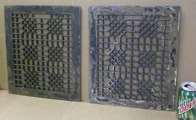 2 Vintage Cast Iron Register Floor Grates Industrial Victorian Age Antique Vent