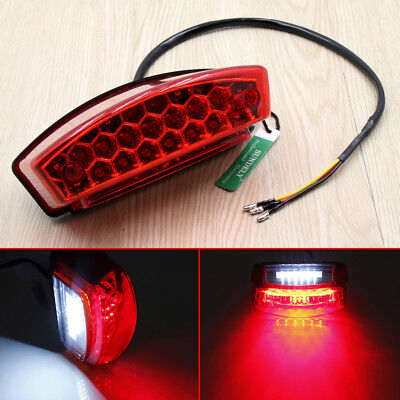 Brand New UNIVERSAL MOTORCYCLE BIKE LED REAR TAIL BRAKE STOP NUMBER PLATE LIGHT