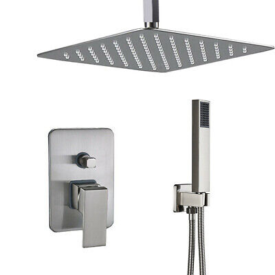 Shower Faucet System Set Brushed Nickel 16 inch Rainfall Shower Head Mixer Tap