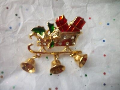 Sleigh Presents Dangling Bells Rhinestones Christmas Pin 1 1/2 inch Jewelry