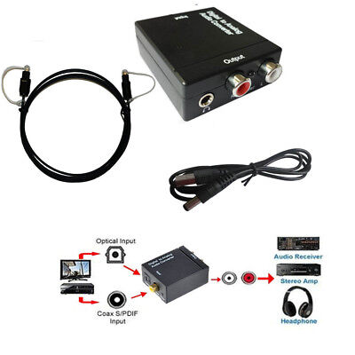 Digital Optical SPDIF Toslink Coaxial to Analog RCA Audio Converter Adapter XBox