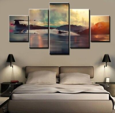 Star Wars X-Wing Fighter, 5 Panel Framed Canvas Wall Art Home Decor