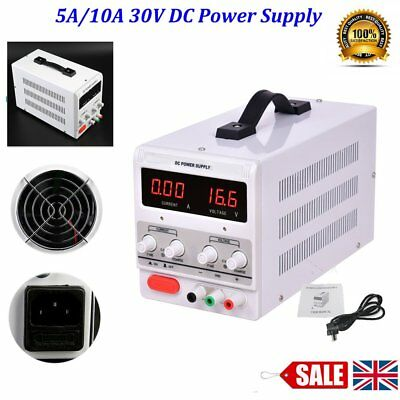 Adjustable 0-30V and 0-5/10A DC Power Supply LED Lab Grade Regulated Variable BU