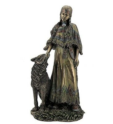 """12"""" Native American Indian Woman Petting Wolf Statue Figurine India North"""