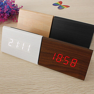 【Voice Control 】Triangular Wood LED Alarm Digital Desk Clock Thermometer Wooden
