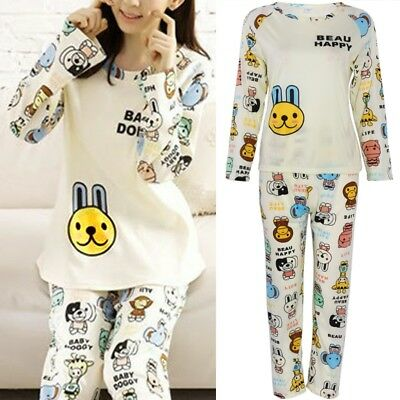 Long Sleeve Women Cartoon Rabbit Print Tops Pajamas Set Sleepwear