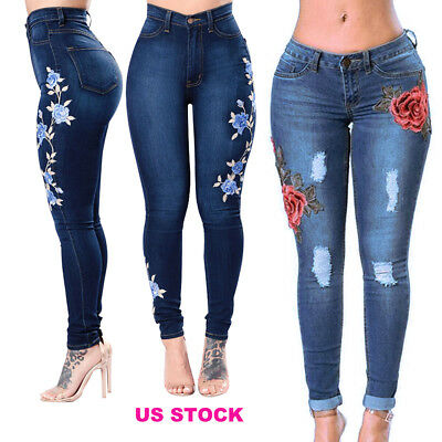 US Women Skinny Ripped Holes FLORAL Denim Jeans Pants High Waist Pencil Trousers