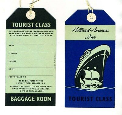 Holland America Line Tourist Class Baggage Room & Stateroom Unused Tags 1950's