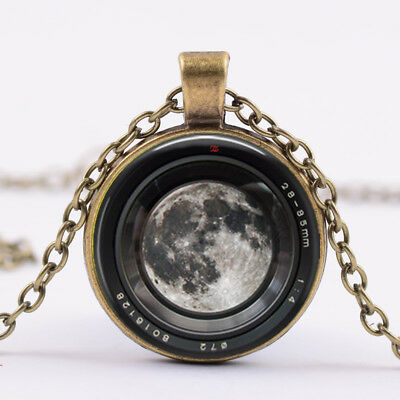 Moon in a Camera lens Necklace,Photographer Jewelry Camera,Camera Charm, bronze
