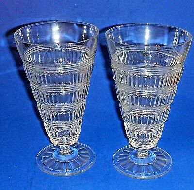 """Pair Vintage or Antique Footed Parfait or Ice Cream Sundae Glasses 6 1/2"""" Tall"""