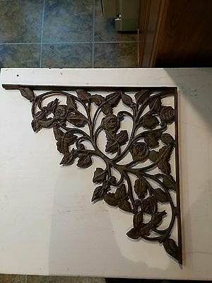 Large Antique Decorative CAST IRON Corner Shelf Bracket Roses and Vines