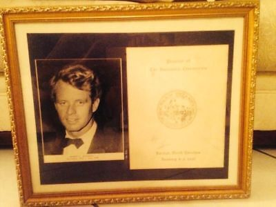 Robert F. Kennedy Autograph Signed Jsa Coa  On Inaugural Booklet Framed